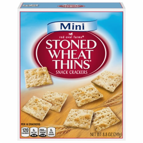 Red Oval Farms Mini Stoned Wheat Thins Crackers Perspective: front
