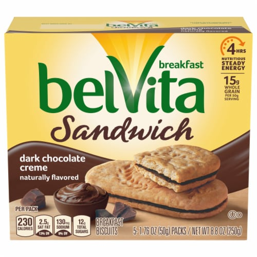 belVita Sandwich Dark Chocolate Creme Breakfast Biscuits Perspective: front