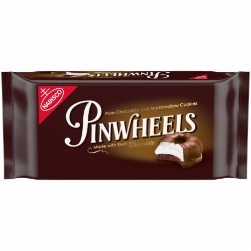 Nabisco Pinwheels Fudge and Marshmallow Chocolate Covered Cookies Perspective: front