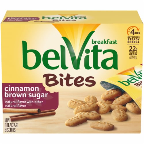 belVita Breakfast Bites Cinnamon Brown Sugar Mini Breakfast Biscuits Perspective: front