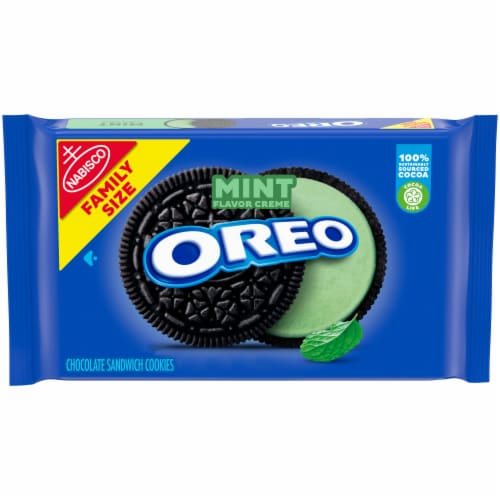 Oreo Mint Creme Chocolate Sandwich Cookies Perspective: front