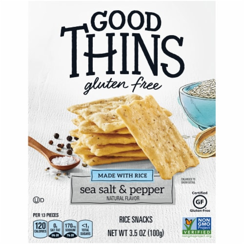 Good Thins Gluten Free Sea Salt & Pepper Rice Snacks Perspective: front
