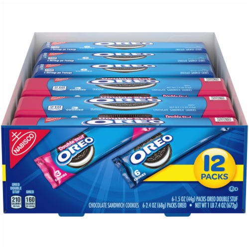 Oreo & Oreo Double Stuf Chocolate Sandwich Cookies Variety Pack Perspective: front