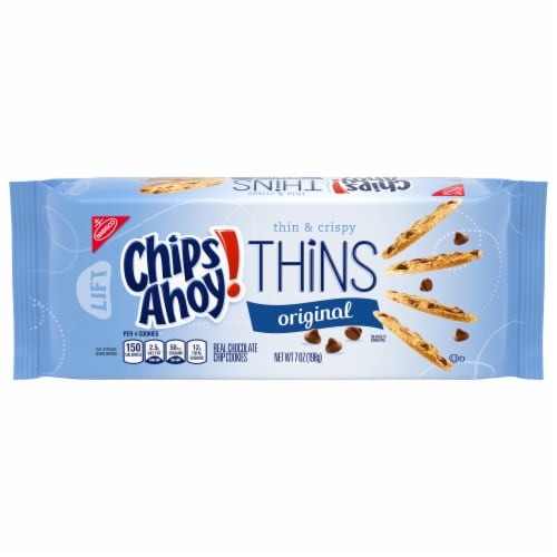 Chips Ahoy! Thins Original Thin & Crispy Chocolate Chip Cookies Perspective: front