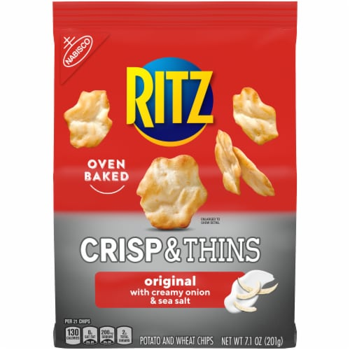 Ritz Crisp & Thins Original with Creamy Onion & Sea Salt Oven Baked Potato and Wheat Chips Perspective: front
