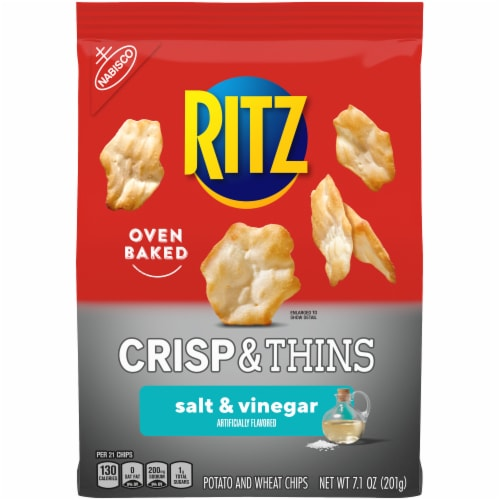 Ritz Crisp & Thins Salt & Vinegar Oven Baked Potato and Wheat Chips Perspective: front