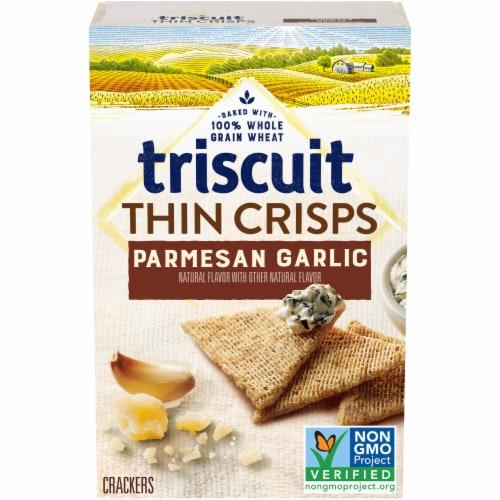 Triscuit Thin Crisps Parmesan Garlic Whole Grain Wheat Crackers Perspective: front