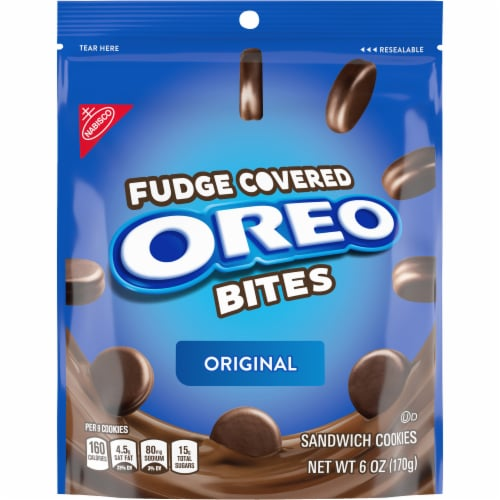 Oreo Thins Bites Original Fudge Dipped Sandwich Cookies Perspective: front