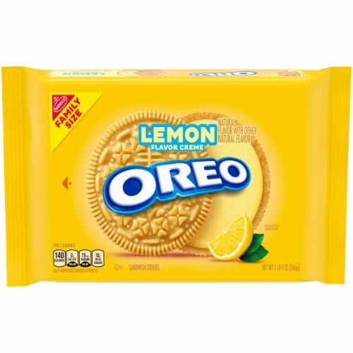 Oreo Lemon Creme Sandwich Cookies Family Size Perspective: front