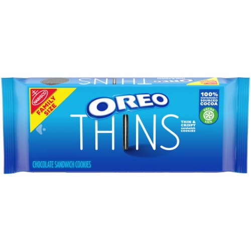 Oreo Thins Chocolate Sandwich Cookies Family Size Perspective: front