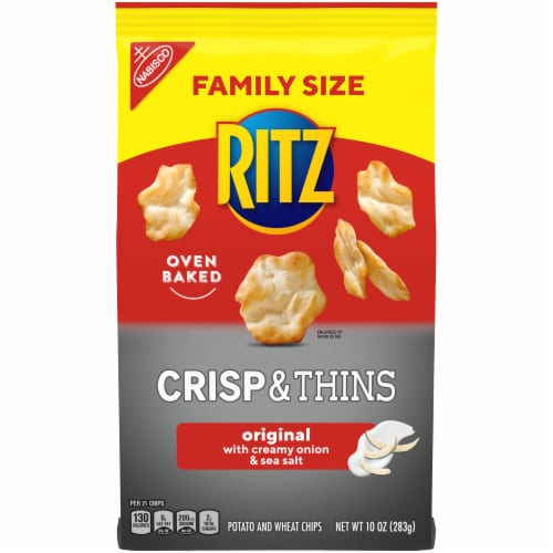 Ritz Crisp & Thins Original with Creamy Onion & Sea Salt Oven-Baked Chips Family Size Perspective: front