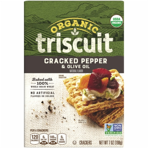 Triscuit Organic Cracked Pepper & Olive Oil Crackers Perspective: front