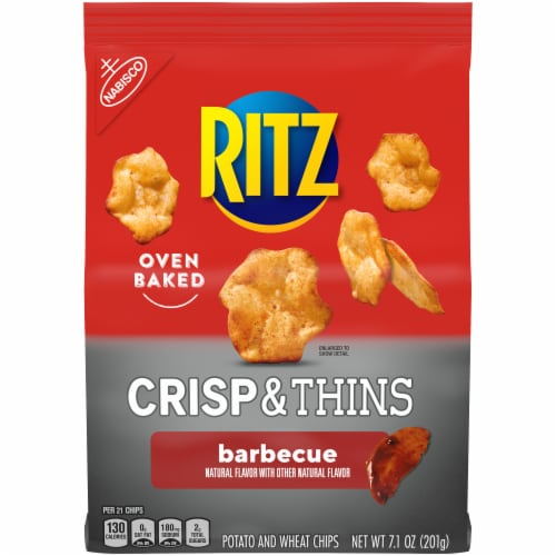 Ritz Crisp & Thins Barbecue Flavored Oven Baked Potato and Wheat Chips Perspective: front