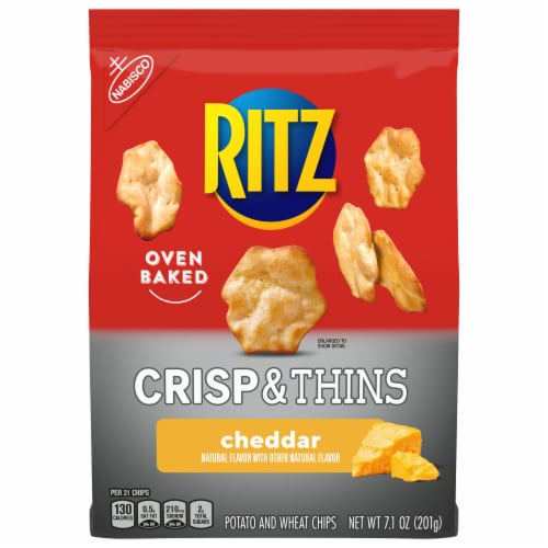 Ritz Crisp & Thins Cheddar Flavored Oven Baked Potato and Wheat Chips Perspective: front
