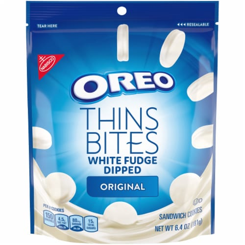Oreo Thin Bites Original White Fudge Dipped Sandwich Cookies Perspective: front