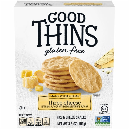 Good Thins Gluten Free Three Cheese Rice & Cheese Snacks Perspective: front