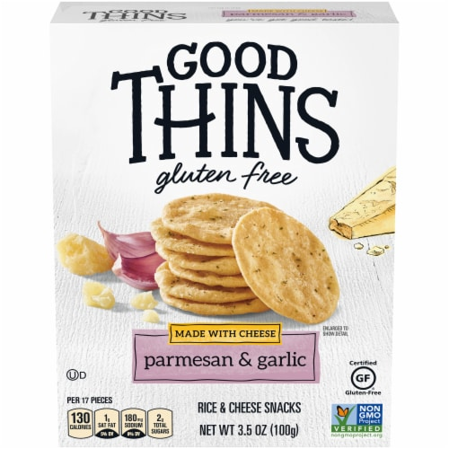 Good Thins Gluten Free Parmesan & Garlic Rice & Cheese Snacks Perspective: front