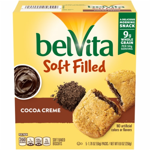belVita Soft Filled Cocoa Creme Baked Biscuits Perspective: front