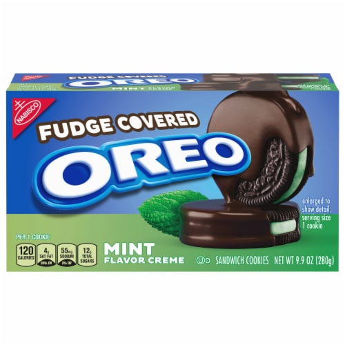 Oreo Fudge Covered Mint Creme Sandwich Cookies Perspective: front