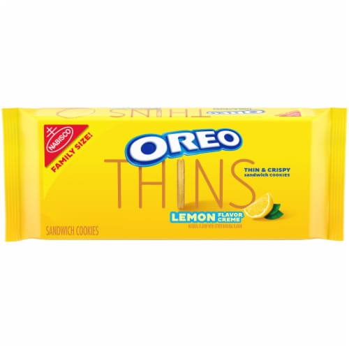 Oreo Thins Lemon Flavor Creme Sandwich Cookies Family Size Perspective: front