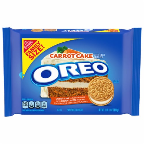 Oreo Carrot Cake Flavored Sandwich Cookies Family Size Perspective: front