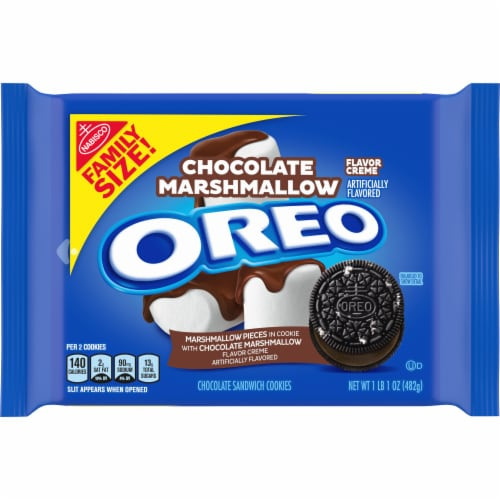 Oreo Chocolate Marshmallow Flavor Creme Chocolate Sandwich Cookies Perspective: front
