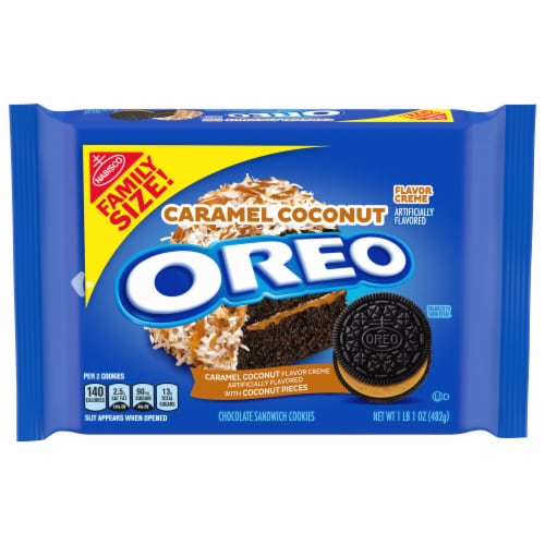 Oreo Caramel Coconut Chocolate Sandwich Cookies Perspective: front