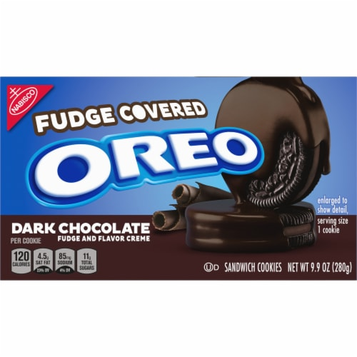 Oreo Fudge Covered Dark Chocolate Sandwich Cookies Perspective: front