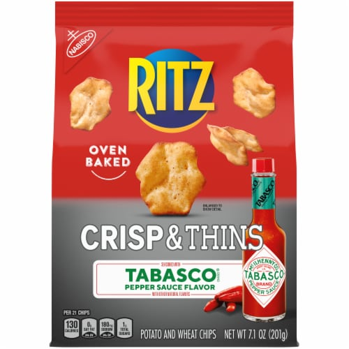 Ritz Crisp & Thins Tabasco Pepper Sauce Potato and Wheat Chips Perspective: front