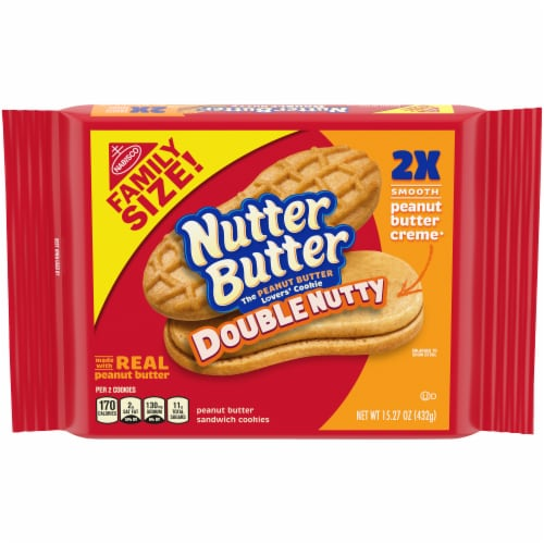 Nutter Butter Double Nutty Peanut Butter Sandwich Cookies Family Size Perspective: front