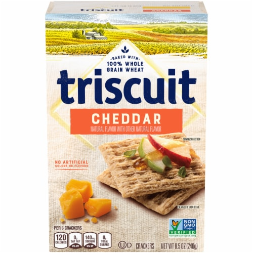 Triscuit Cheddar Flavored Whole Grain Wheat Crackers Perspective: front