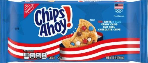 Chips Ahoy! Red White & Blue Candy Chips Chocolate Chip Cookies Perspective: front