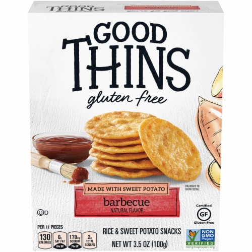 Good Thins Gluten Free Barbecue Flavored Sweet Potato and Rice Snacks Perspective: front