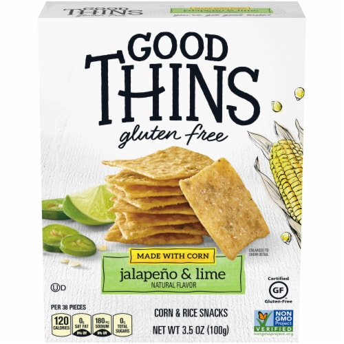 Good Thins Gluten Free Corn Lime and Jalapeno Flavored Corn and Rice Snacks Perspective: front