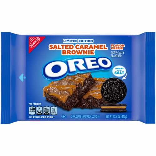 Oreo Limited Edition Salted Caramel Brownie Chocolate Sandwich Cookies Perspective: front