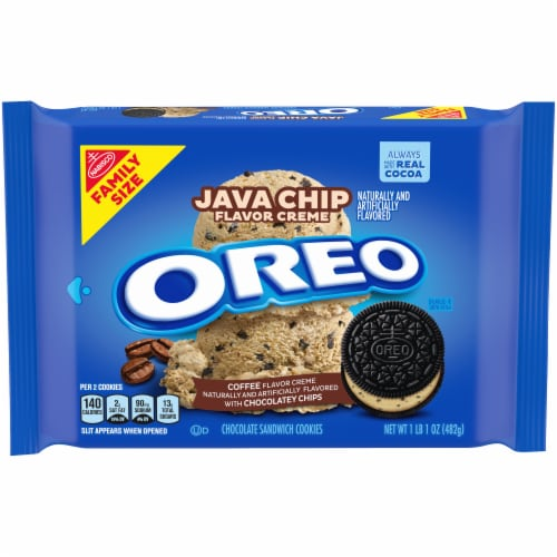 Oreo Java Chip Flavor Creme Chocolate Sandwich Cookies Perspective: front