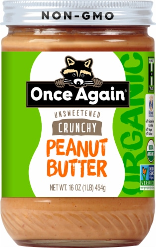 Once Again Organic Unsweetened Crunchy Peanut Butter Perspective: front