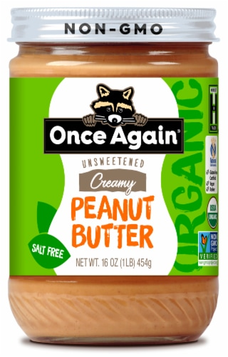 Once Again Organic Creamy Unsweetened Salt Free Peanut Butter Perspective: front