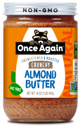 Once Again Unsweetened & Roasted Salt Free Crunchy Almond Butter Perspective: front