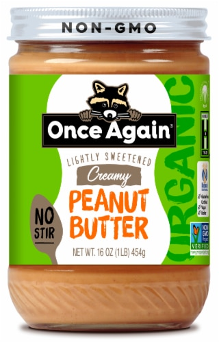 Once Again Organic Lightly Sweetened Creamy Peanut Butter Perspective: front