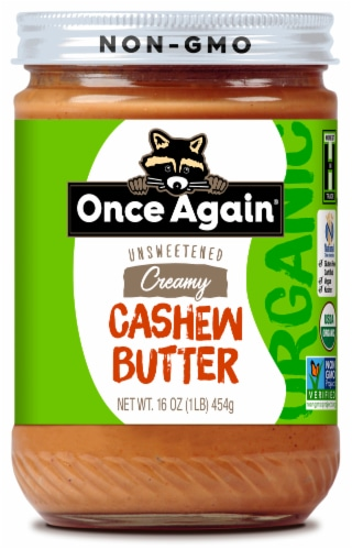 Once Again Organic Unsweetened Creamy Cashew Butter Perspective: front