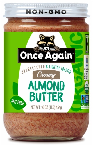 Once Again Organic Unsweetened & Lightly Toasted Salt Free Creamy Almond Butter Perspective: front