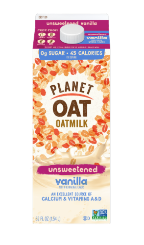 Planet Oat Unsweetened Vanilla Oatmilk Perspective: front