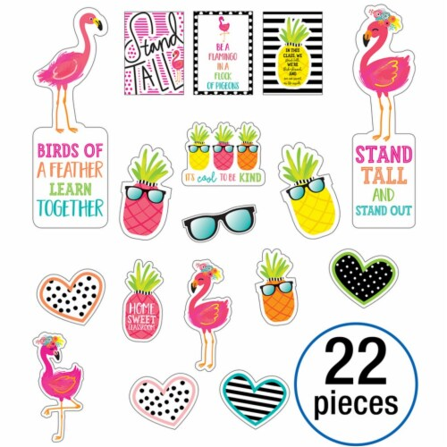 Simply Stylish Tropical Motivational Mini Bulletin Board Set, 22 Pieces Perspective: front