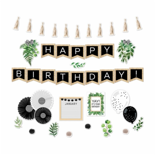 Simply Boho Birthday Bulletin Board Set Perspective: front