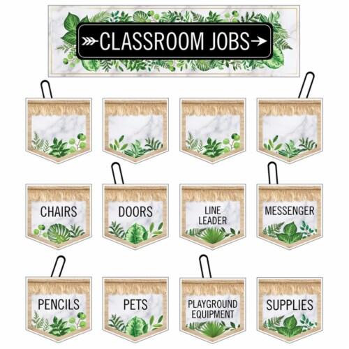 Carson Dellosa Education CD-110509 Simply Boho Classrm Jobs Mini Bulletin Board Set for Grade Perspective: front