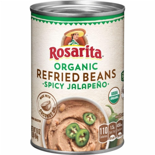 Rosarita Organic Spicy Jalapeno Refried Beans Perspective: front