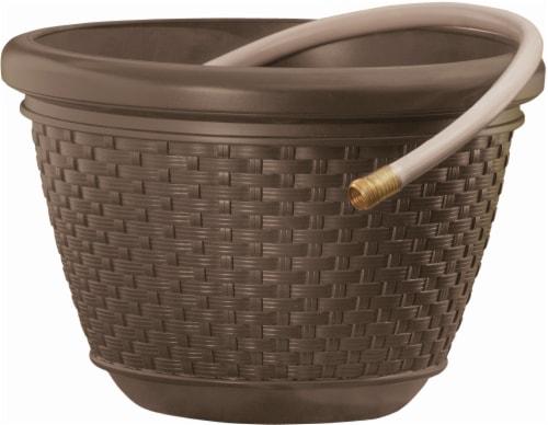 Suncast Resin Wicker Hose Pot - Java Perspective: front