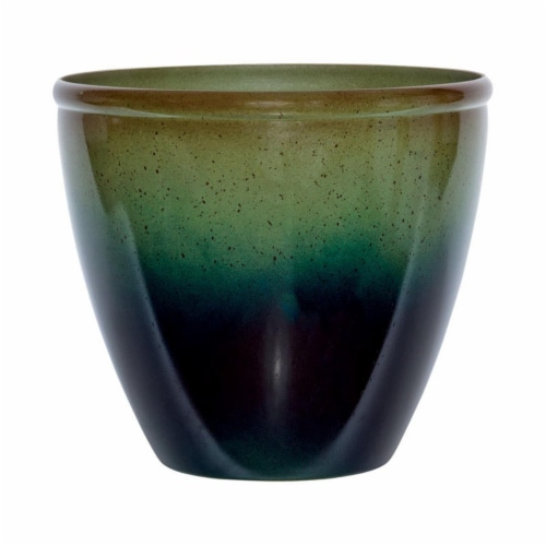 Suncast 7507296 14 x 16 x 16 in. Resin Modern Planter  Green & Blue Perspective: front