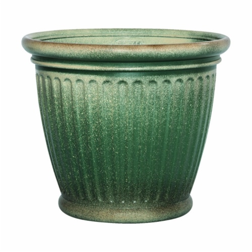 Suncast 7507262 16 x 18 in. Resin Planter, Green Perspective: front